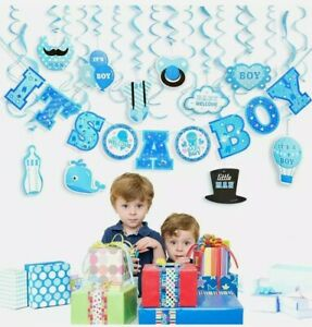 30Pcs IT'S A BOY Baby Shower Room Decoration Kit For Boy Baby Hanging Banner