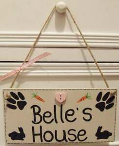 Handmade Personalised Pet Rabbit Plaque Sign Cage Hutch Shabby Chic Home Gift