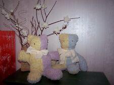 CHENILLE MULTI-PASTEL BABY TEDDY BEAR OOAK HANDCRAFTED