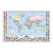 """World Map with Country Flags for Kids (36"""" x 24"""" Laminated)"""