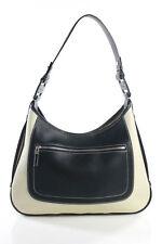 Salvatore Ferragamo Black Beige Leather Shoulder Handbag