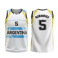 2008 Beijing Manu Ginóbili #5 Team Argentina Basketball Jerseys 2016 Stitched
