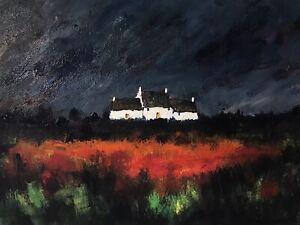 ORIGINAL PAINTING  Acrylic On Canvas 40x30cm 'Welsh Cottage'