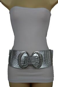 New Women Fashion Stretch Faux Leather Silver Wide Waistband Beads Belt XS S M