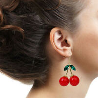 1Pair Women Fashion Cherry Earrings Drop Dangle Rhinestone Ear Hook Jewelry Gift