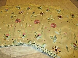 3 beige valances embroidered flowers
