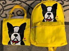 Marc Tetro Boston Terrier Backpack & Tote Set Bundle Yellow New 🔥 🔥