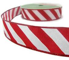 5Yd Christmas Red White Candy Cane Peppermint Iridescent Glitter Wired Ribbon 1