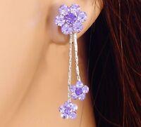 """#E852A NON-PIERCED CLIP ON screw back 1.5"""" Earrings Flower Crystal Wedding Women"""