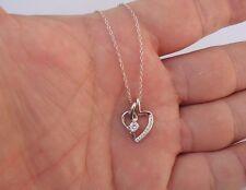 925 STERLING SILVER LADIES SPLIT OPEN HEART NECKLACE PENDANT W/ 5CT DIAMONDS