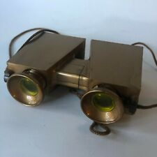 Vintage Binoculars Gold Color Yellow Lenses Adjustable Square Viewer