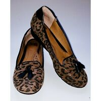 Women's  SOFFT Leopard Print Tassel Loafer Flat Shoe size 7M