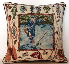 Fish-  Fisherman Fishing w/ Rod, Reel, Fish, Paddles, Net -Tapestry Pillow New