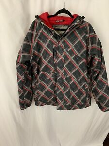 Quiksilver Men's Small BlackRed, Gray Plaid Hooded Snow Jacket