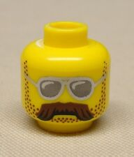 x1 NEW Lego Minifig Head w/ Brown Bushy Moustache, Stubble and Silver Sunglasses