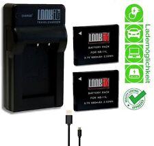 LOOKit Lader + 2x LOOKit NB11L / H für Canon IXUS 265, IXUS 145, IXUS 150