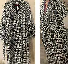 H&M Dogtooth Houndstooth Check Checkboard Black White Wool Blend Coat UK L 14 16