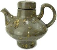 Large Signed Handmade Salt Glazed Pottery Teapot Pitcher Speckled Splotched 6 in