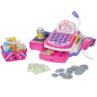 BCP Kids Pretend Electronic Cash Register Set w/ Money, Play Food Groceries, Mic