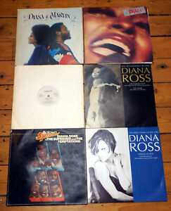 """Job Lot Diana Ross And The Supremes Vinyl LPs Plus 12"""" SIngles Great Condition"""