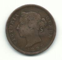 Cyprus Rare Coin Queen Victoria British 1 Piastre 1895 Key Date Bronze Fine Free