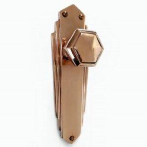 Pr of 1930`s Art Deco Reproduction Copper Hexagonal Door Knobs & Backplates COP1
