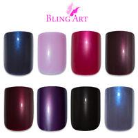 Bling Art False Nails Black Red Blue Pink Brown Purple Glitter Fake Medium Tips