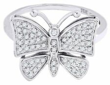Diamond Butterfly Fashion Right Hand Ring 10K Yellow Gold Round Cut 0.35 Ct.