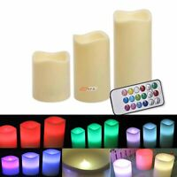 3x Large Wax LED Flickering Remote Control Candle Lights Dancing Flameless Ca...