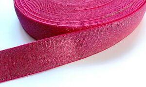 1m Fuchsia Pink sparkly glittery Stretch Elastic Waistbands Cuffs Multipurpose