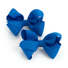 "2 Pack Blue Hair Bow Girls Clips School Ribbon 4"" Slides Accessory Pair Pack"