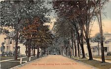 Lockport New York High Street Looking East Postcard 1915