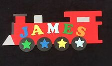 Personalised Wooden Name Plate Children Door or Wall Sign Red Train
