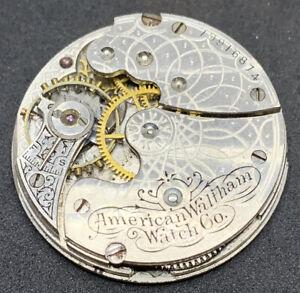 Waltham Seaside Pocket Watch Movement 1891 Hunter 0s 7j Parts Antique F2744