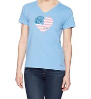 Life Is Good Womens Small Blue Crusher Americana Love Crusher T Shirt
