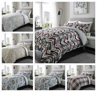 Warm Flannelette Duvet Quilt Cover Set All Sizes 100% Brushed Cotton Reversible