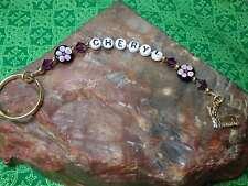 Dainty Personalized Key Ring Yorkie / Silky Terrier Purple w/ Swarovski Crystals