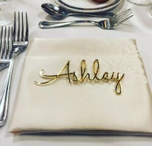 Personalized wedding place table cards Laser cut names
