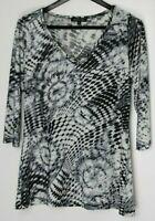 NICOLE MAX Women's 3/4-Sleeve V-Neck Tunic Top Stretch Black Ivory Size L
