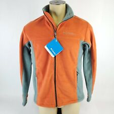 $50 NWT Men's Columbia Full Zip Orange Fleece Jacket Gray Trim Size Medium