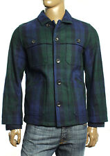 New Mens Tommy Hilfiger Hannaford Navy Green Plaid Wool Blend Jacket Coat M