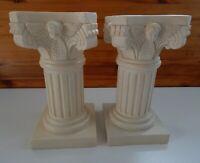 Mid Century Alabaster Resin Tall Column Large Base/ Pot Stand Matching Set