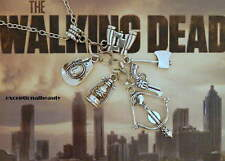 Antiqued Silver 6 Charm The Walking Dead Theme 22 Inch Long Sweater Necklace
