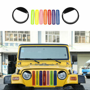 Colorful For Jeep Wrangler TJ 1997-06 Grille Grill + Front Lampshade Cover Trim