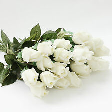 White roses wedding bouquet for sale ebay 20head real latex touch rose artifical flowers wedding party home bouquet decor kc353 white roses 20 mightylinksfo
