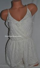Abercrombie & Fitch A&F Lace Ruffle Romper Summer Dress White XS XSmall NEW