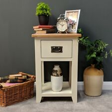 Padstow Painted Cream Oak Lamp Table / Solid Wood Side Table with Drawer
