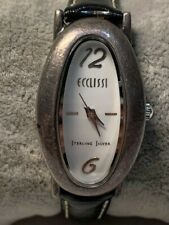Ladies Ecclissi Sterling Silver Leather Band Watch New Battery