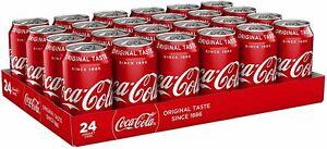 Coca Cola Original Taste 24 x 330ml Cans Case Classic Soft Drink Party Drink