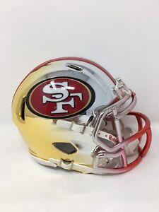 49ers custom three tone CHROME  riddell speed mini helmet
